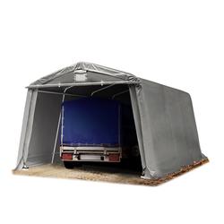 Toolport Zeltgarage 3,3x4,8m PVC 500 g/m² grau wasserdicht Garagenzelt