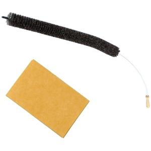 Heizkörperbürste SET 120 cm lang Kunststoff ummantelter Edelstahldraht & Ziegenhaar Borsten + inkl. dazugehöriges Bodentuch in Orange für Bodenstaub