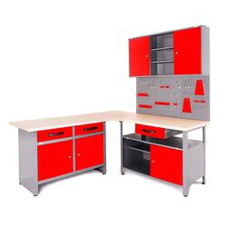 ONDIS24 Werkstatt-Set Basic One, (Set), 2x Werkbank, 1x Werkstattschrank, 3x Lochwand rot