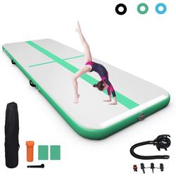 COSTWAY Trainingsmatte Air Track Gymnastikmatte Tumbling Matte Turnmatte, mit elektrischer Pumpe, aufblasbar, inkl. Tragetasche grün