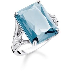 Thomas Sabo Damen-Ring Stein Blau groß mit Stern 925 Sterlingsilber TR2261-644-31-54