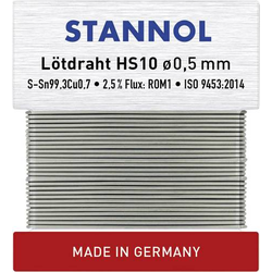 Stannol HS10 Lötzinn, bleifrei bleifrei Sn0.7Cu 10g 0.5mm