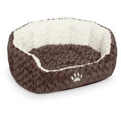 Nobby Hundebett oval Neiku braun/weiß, Maße: 65 x 57 x 22 cm