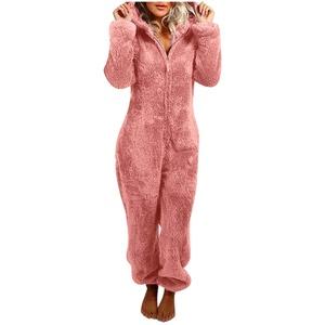 Piasnhaoah4 Damen Jumpsuit Teddy Fleece Zip Jumpsuit mit Kapuze Fluffy Warm Jumpsuit Pyjamas Ganzkörperanzug Freizeitanzug,Winter Warm Cosy Pyjamas Jumpsuits Ganzkörperanzug mit Kapuze