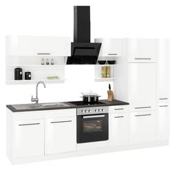 HELD MÖBEL Küchenzeile Tulsa, mit E-Geräten, Breite 300 cm, schwarze Metallgriffe, hochwertige MDF Fronten weiß