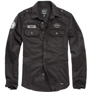 Brandit Luis Vintage Shirt with Badges schwarz, Größe 3XL