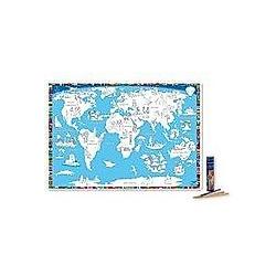 Malkarte Welt mit 12 hochwertigen Buntstiften in dekorativer Buntstiftdose