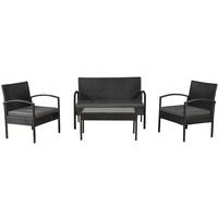 ARTLIFE Polyrattan Gartenmöbel Sitzgruppe Trinidad schwarz mit dunkelgrauen Bezügen