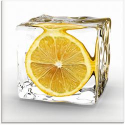 Artland Glasbild Zitrone im Eiswürfel, Lebensmittel (1 Stück) 50 cm x 50 cm