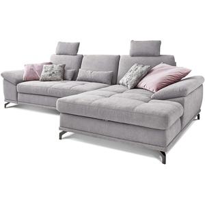 Cavadore Ecksofa Castiel mit Federkern / Großes Sofa in L-Form mit Sitztiefenverstellung, Kopfstützen und XL-Longchair / 312 x 114 x 173 / Webstoff, Hellgrau