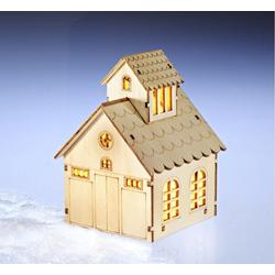 dynamic24 Weihnachtshaus, LED Holz Dorf Haus Weihnachten Winter Beleuchtung Fenster Deko Weihnachtsdeko