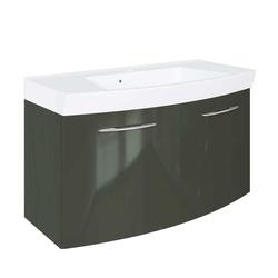 Hochglanz Waschtischschrank in Dunkelgrau 100 cm
