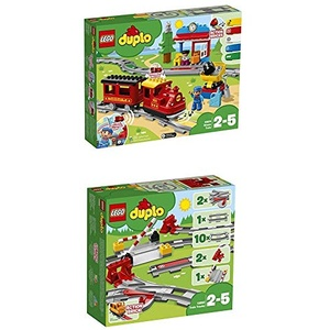 LEGO DUPLO Dampfeisenbahn 10874 Spielzeugeisenbahn + Eisenbahn Schienen (10882) Konstruktionsspielzeug