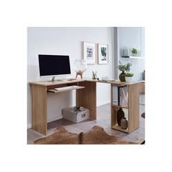 FINEBUY Schreibtisch SuVa11893_1, Schreibtischkombination 140 x 75,5 x 120 cm Schreibtisch mit Regal Arbeitszimmer Home Office Tisch Büro Modern
