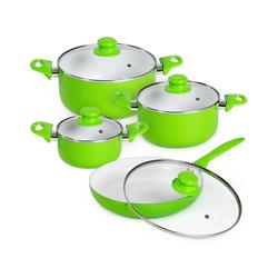 tectake Topf-Set Topfset aus Aluminium mit Keramikbeschichtung mit, Aluminium grün