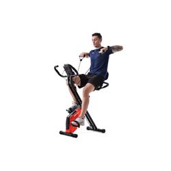 Merax Heimtrainer Ouranos, X-Bike mit Pulssensoren, Fitnessrad für Heimtrainer, gepolsterter Sitz und Rückenlehne rot