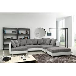 Küchen-Preisbombe Sofa Sofa Couch Ecksofa Eckcouch in weiss / hellgrau Eckcouch mit Hocker - Minsk XXL, Sofa in U-Form mit Hocker