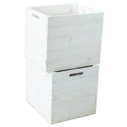 Kistenkolli Altes Land Allzweckkiste 2er set Holzkiste weiß passend für Kallax und (2er Set)
