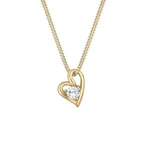 Elli PREMIUM Halskette Damen Herz Liebe Bezaubernd mit Zirkonia Steinen 585 Gelbgold