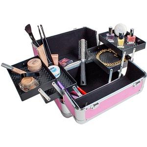 Kosmetikkoffer mit 4 Ablagefächern - rosa