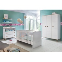 Yourhome Babyzimmer Cannes mit 3-türigem Schrank 3-tlg. alpinweiß/eiche