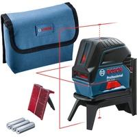 Bosch Professional Kreuzlinienlaser GCL 2-15 (roter Laser, Innenbereich, mit Lotpunkten, Arbeitsbereich: 15 m, Laserklasse 2 Laserfarbe rot selbstnivellierend inklusive Batterien, Baulas