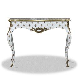 Casa Padrino Barock Konsole Weiß Gold 100 x 40 x H. 85 cm - Barock Konsolentisch