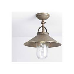 Licht-Erlebnisse Außen-Deckenleuchte GIADA Deckenlampe Außen Messing bronziert Handarbeit E27 Maritimes Design