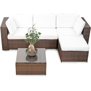 XINRO® erweiterbares 15tlg. Balkon Polyrattan Lounge Ecke - braun - Sitzgruppe Garnitur Gartenmöbel Lounge Möbel Set aus Polyrattan - inkl. Lounge Sessel + Ecke + Hocker + Tisch + Kissen