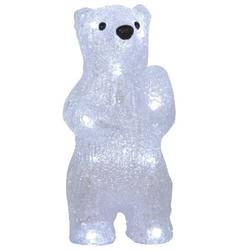 Kristall Bär 20cm mit 12fach LED Beleuchtung weiß inklusive Batterien