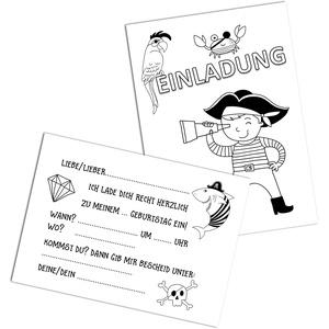 Nastami 5 Einladungskarten Kindergeburtstag zum Ausmalen Einladungen Kindergeburtstag Einladungskarten (Piraten zum Ausmalen)