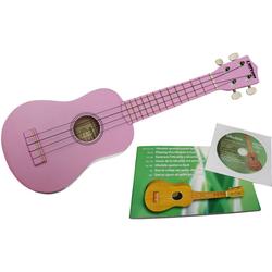 Clifton Ukulele Sopran Ukulele mit Buch und CD, rosa