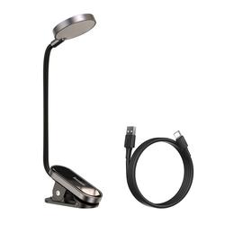 Baseus LED Leselampe Baseus Mini LED Leselampe Tischleuchte Büro Lampe Nachttisch Büroleuchte USB mit Clip grau