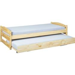 Vicki Landhaus Bett 90x200 cm natur Kiefer Holz Doppelbett Gästebett Jugendbett