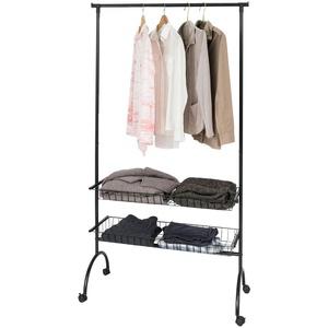 SoBuy® FRG243-SCH Garderobenwagen Kleiderständer mit Kleiderstange und 2 Körben, Kleiderständer, schwarz, BHT ca.: 100x180x41cm