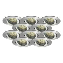 LED Einbaustrahler 10er-SET MR16, GU5.3, 12V, warmweiß, rund 5W Marken-LEDs