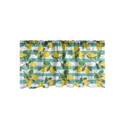 Scheibengardine Vorhang Volant für Küche Schlafzimmer Dekor mit Stangentasche, Abakuhaus, Zitronen Zitronenblüten Blätter Kunst 137 cm x 30 cm