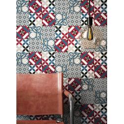Newroom Vliestapete, Rot Tapete Orientalisch Fliesen - Fliesentapete Fliesenoptik Blau Grau Grafisch Modern Mosaik Kacheln für Wohnzimmer Schlafzimmer Küche blau