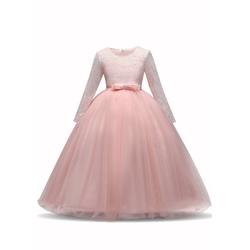 TOPMELON Partykleid Lange Ärmel, Prinzessinenkleid, Tüllkleid, Spitze rosa 150