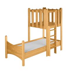 BioKinder - Das gesunde Kinderzimmer Kinderbett Noah, 90x200 cm mit Spielturm