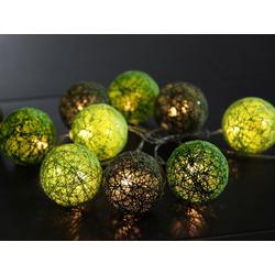 STAR TRADING LED-Lichterkette LED Lichterkette Sisal - Ball Lichterkette - 10 warmweiße LED - L: 1,35m - D: 6cm - grün, 10-flammig