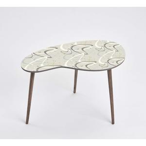 Queence Design-Tisch/Beistelltisch/Couchtisch/Retro Design/Nierenform/Coffee Table Tisch/Nierentisch/Telefontisch/Größe: 60x40, Farbe:Formen 2