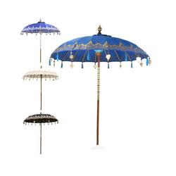 Oriental Galerie Sonnenschirm Balinesischer Sonnenschirm 180 cm Einfache Bemalung Blau Gold, Handarbeit blau