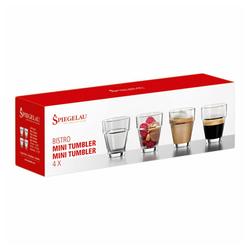 SPIEGELAU Gläser-Set Bistro Tumbler Mini 4er Set 95 ml, Kristallglas weiß