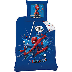 Wende-Kinderbettwäsche Spiderman Protector, 135 x 200 cm blau/weiß Gr. 135 x 200 + 80 x 80
