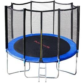 Arebos Trampolin 244 cm inkl. Sicherheitsnetz und Leiter schwarz/blau