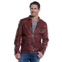 Jacke im Bikerstyle mit gebrauchter Warenoberfläche Engbers Rubinrot