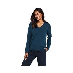 Bouclé-Pullover mit V-Ausschnitt - S - Blau