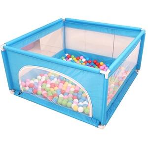 Laufstall Laufgitter Baby-Laufgitter und Bällebad-Set für Indoor-Kinderspielplatz Tor-Fallschutzzaun, blau, ohne Kugeln