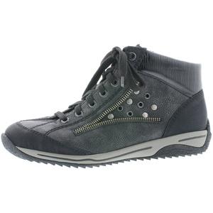 Rieker Damen Schnürstiefelette L5225,Frauen Stiefel,Boots,Halbstiefel,Schnürboots,Bootie,flach,Blockabsatz 3cm,Einlegesohle,schwarz/Black-Silver/Black, EU 38